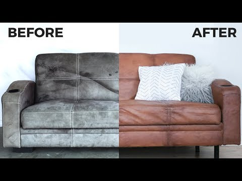 This Secret Fabric Paint Recipe Won T Be Crusty On Your Fabric Here S How I Painted My Couch To Look Like Real Leath In 2020 With Images Couch Fabric Diy Couch Upcycled