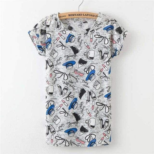 1f35968c Women Plus Size Hole T shirt Ladies short sleeve star print vintage T-shirt  big size summer tops for woman