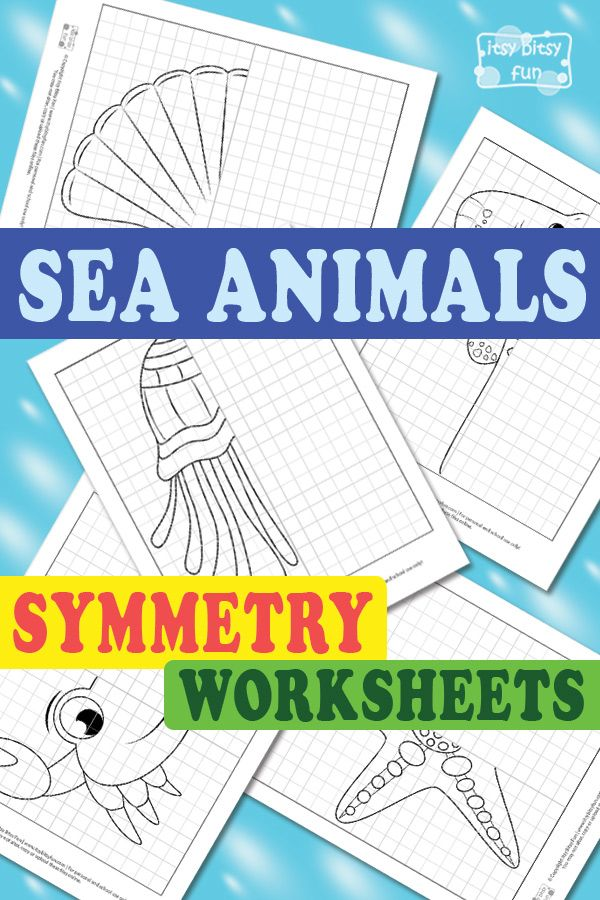Sea Animals Symmetry Drawing Worksheets | Para niños, Niño y ...