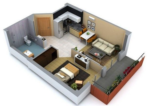 Plano de departamento de 1 dormitorio con balc n loft for Amoblar departamentos pequenos