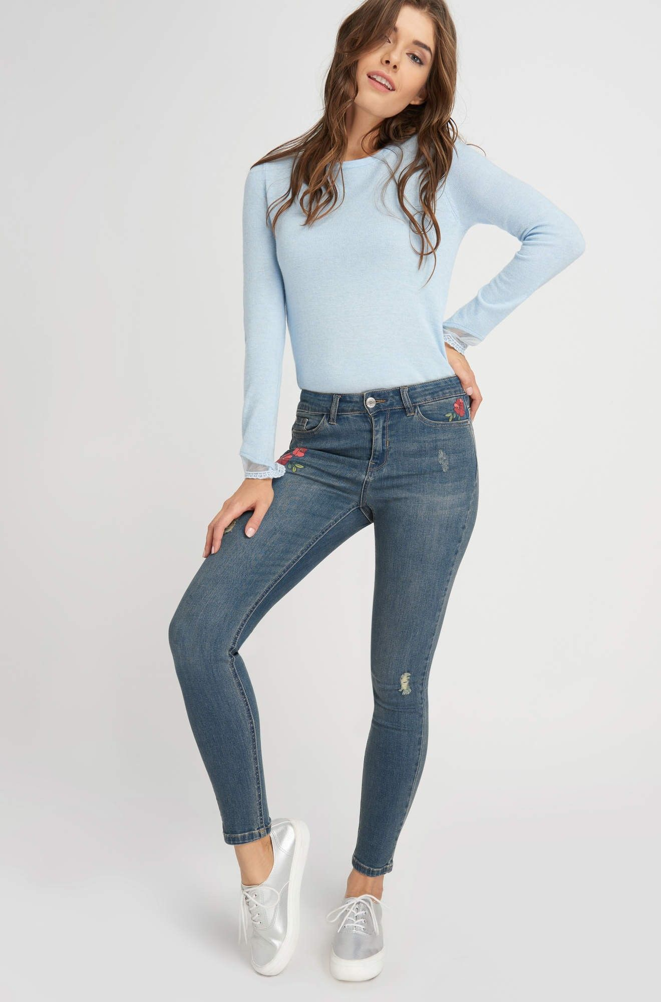 a43918a3558149 ORSAY JEANS | Distressed skinny jeans with flower print #mywork  #fashiondesigner #denim #