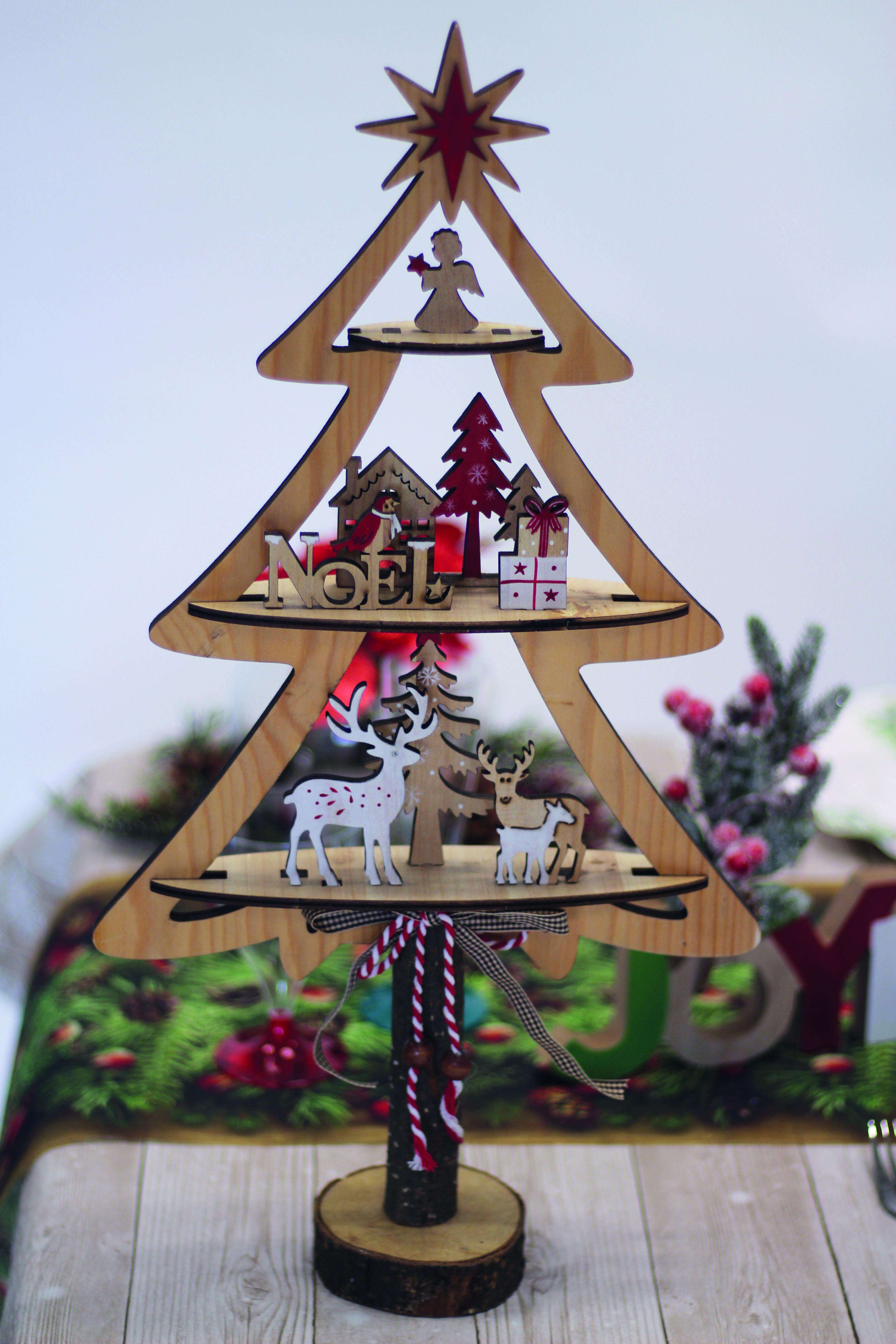 Deco A Tous Les Etages sapin de décoration en bois - 3 étages - 53 cm   decoration