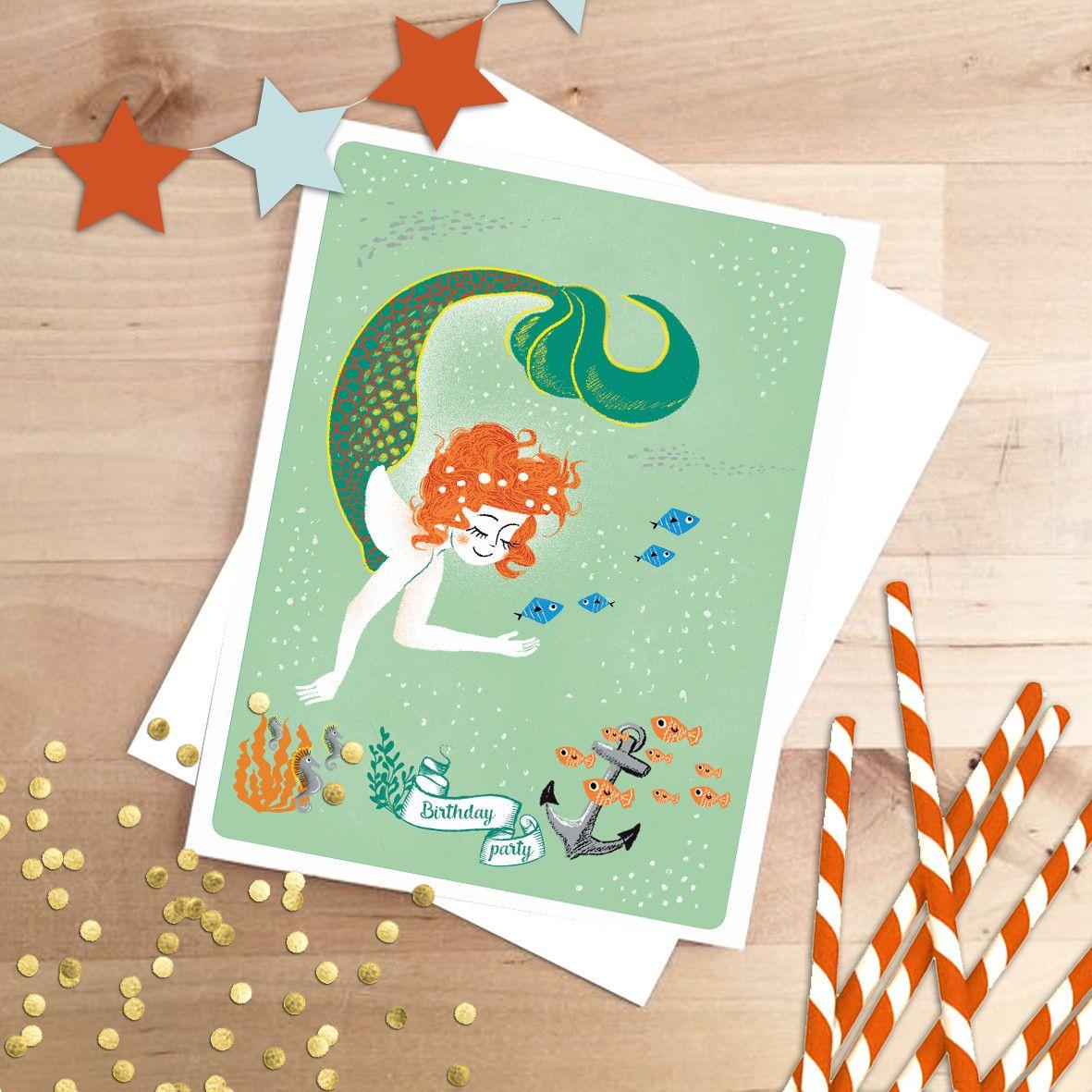 Carton d'invitation pour anniversaire - Sirène   Carton invitation, Anniversaire, Invitation