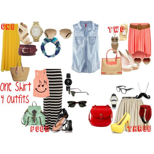 One Shirt ....Four Outfits, created by kiwi530 on Polyvore