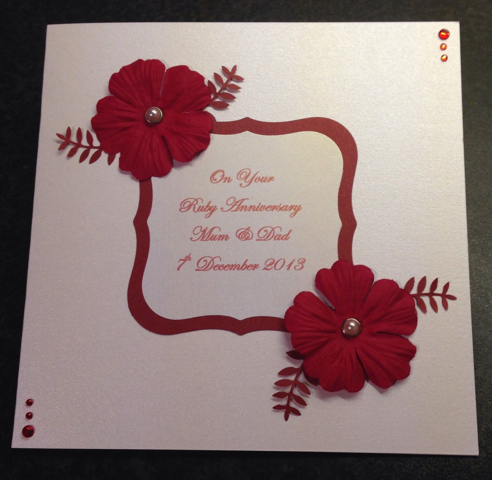 Handmade ruby wedding anniversary card craft pinterest