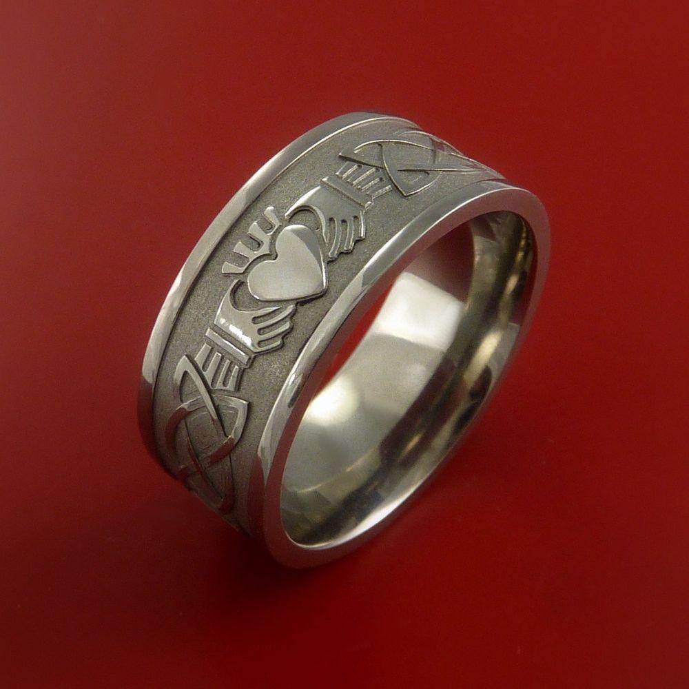 Titanium Ring With Claddagh Milled Celtic Design Inlay Custom Made Band Irish Ring Claddagh Claddagh Rings Irish Wedding Rings