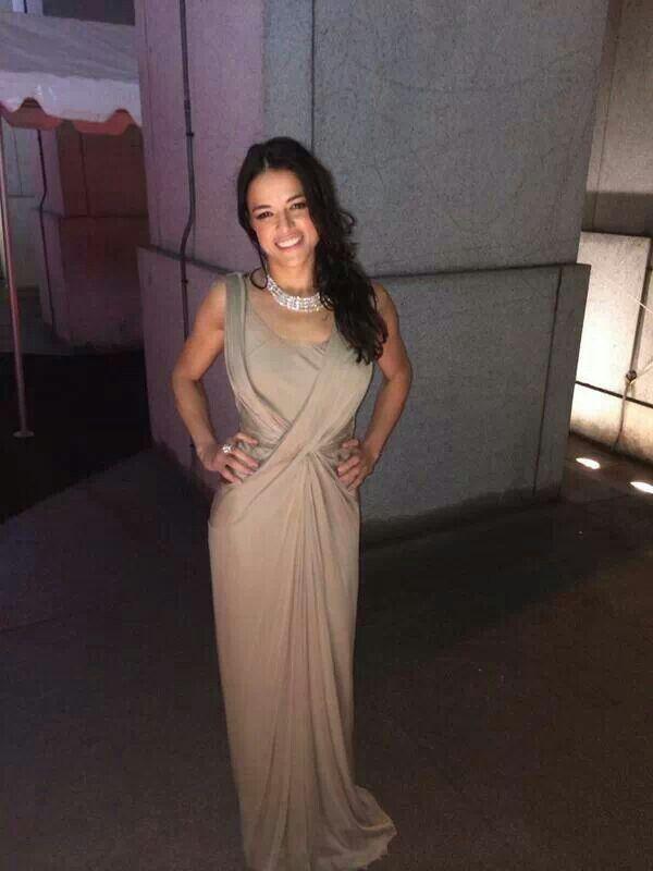 Michelle Rodriguez love her dress!