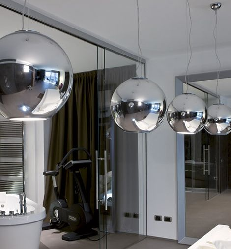 Roberto menghi 1960 globo di luce pendant light contemporary chrome roberto menghi 1960 globo di luce pendant light contemporary chrome by fontana arte aloadofball Choice Image