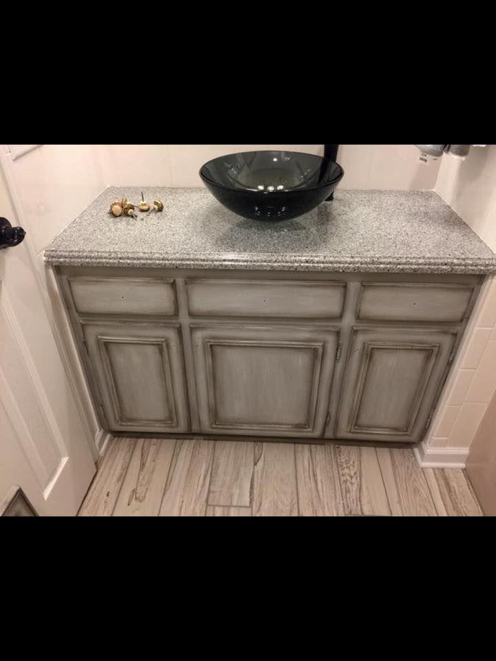 Lisa Skelton Harrison Used Driftwood On This Bathroom Cabinet
