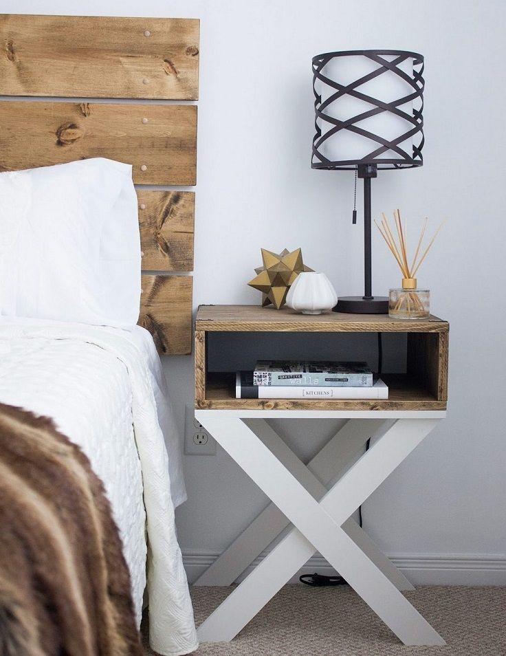 Diy Dark Wood Nightstand With X Legs 14 Easy And Cheap Diy Nightstand Ideas For Your Bedroom Diy Wood Headboard Bedroom Diy Woodworking Projects Diy