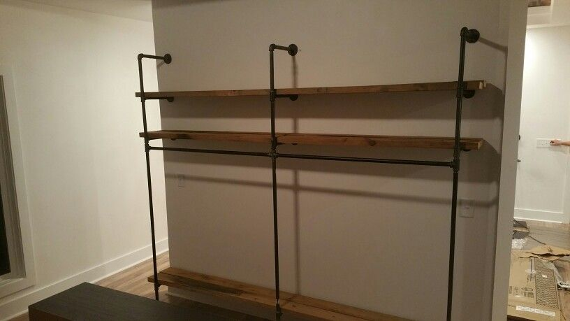 Black Iron Pipe Closet Shelves And Hanging Rods Diy By Ohi