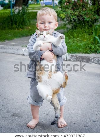 a child boy hugging a cat with lots of love portrait of