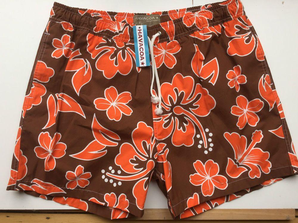 859d27df012fb Mens Havacoa Swim Shorts Surf Brown Orange Floral XL Authentic New RRP£85