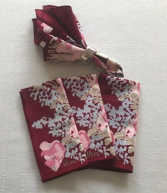 Vintage Vera Napkins Set of 4 Cotton Flowered Print Vera