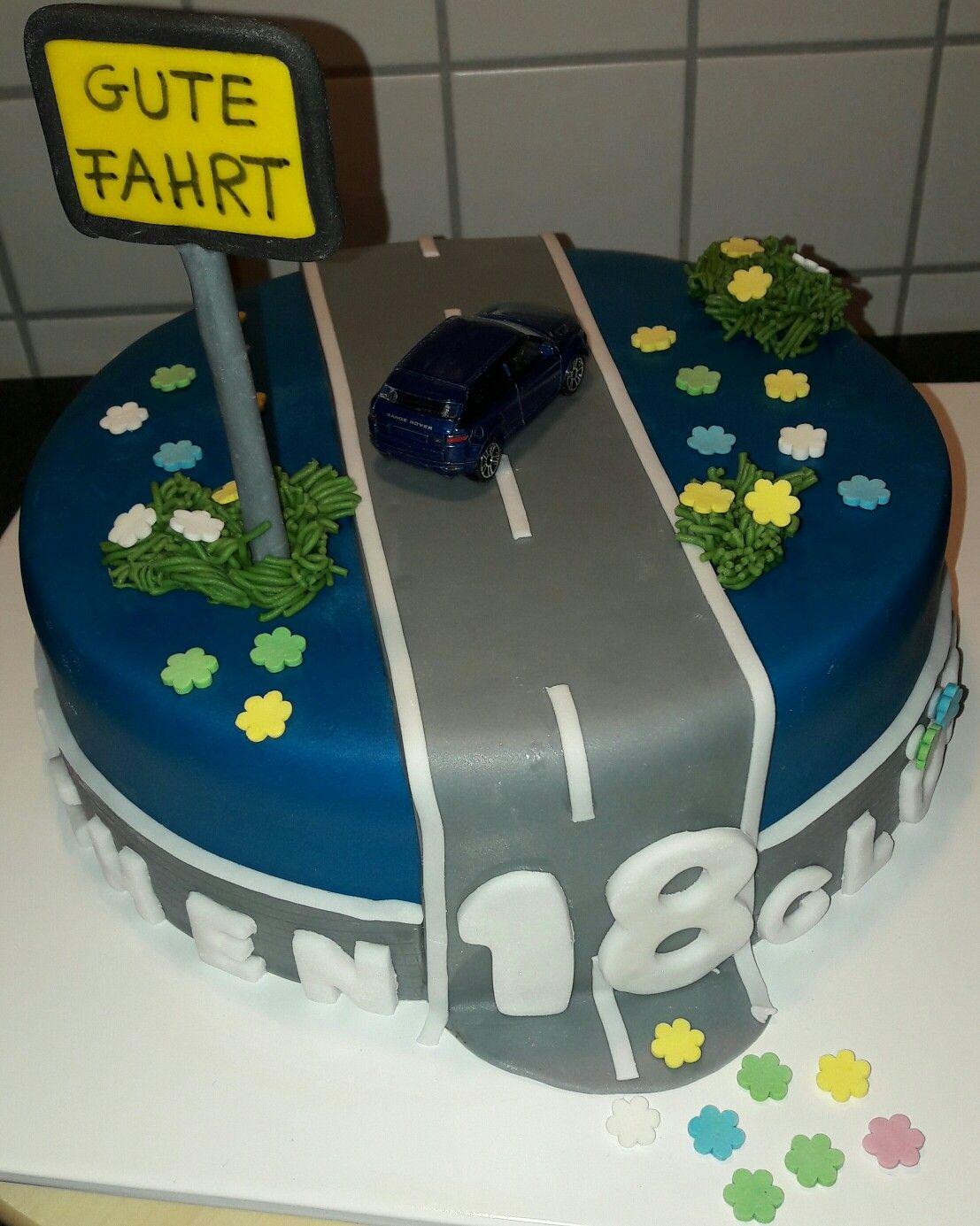 Motivtorte Fondant 18 Geburtstag Mit Auto Und Strasse 18 Ter