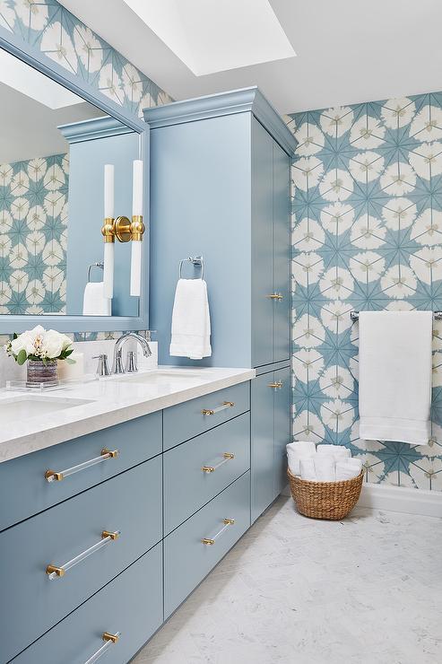 Blue Flat Front Bath Vanity Cabinets