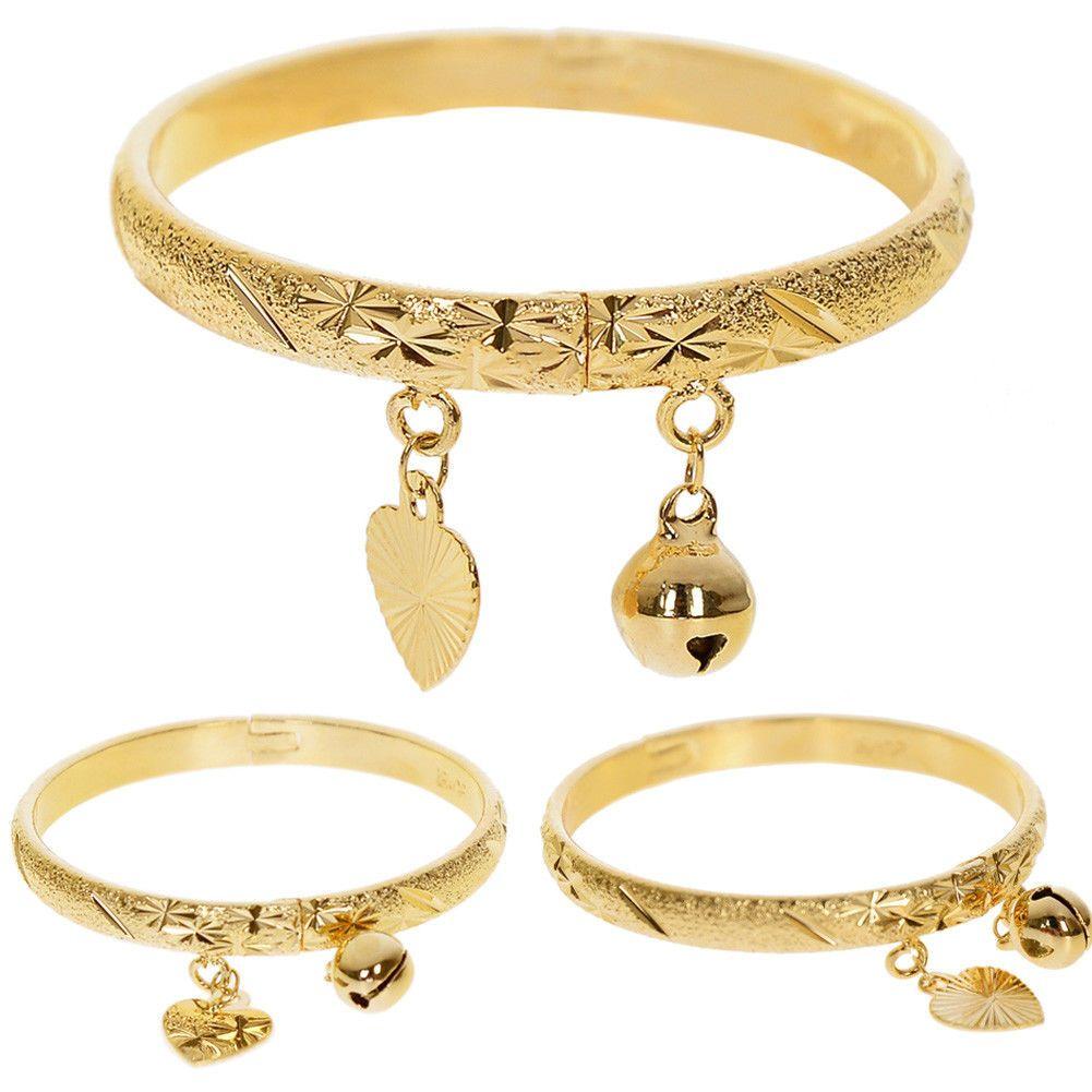 Gold plated bell heart bracelet children boys girls baby kids