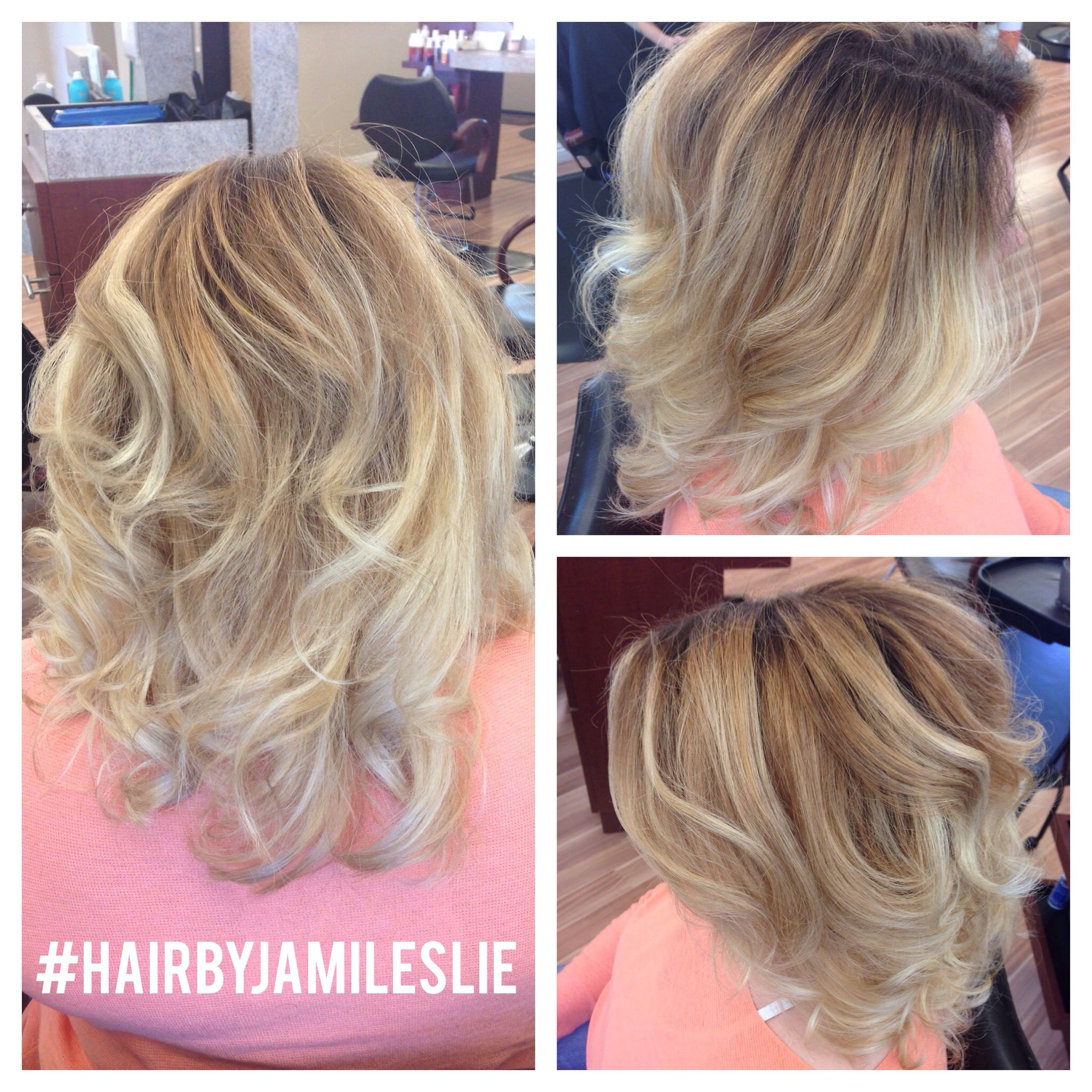 A gorgeous balayage ombré melting from a medium beige base, to a caramel blonde to