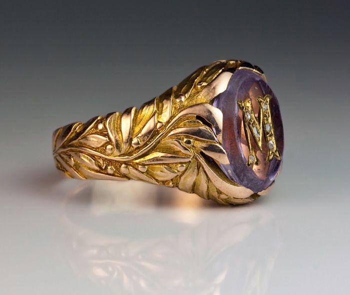 vintage gold amethyst monogrammed s ring rings