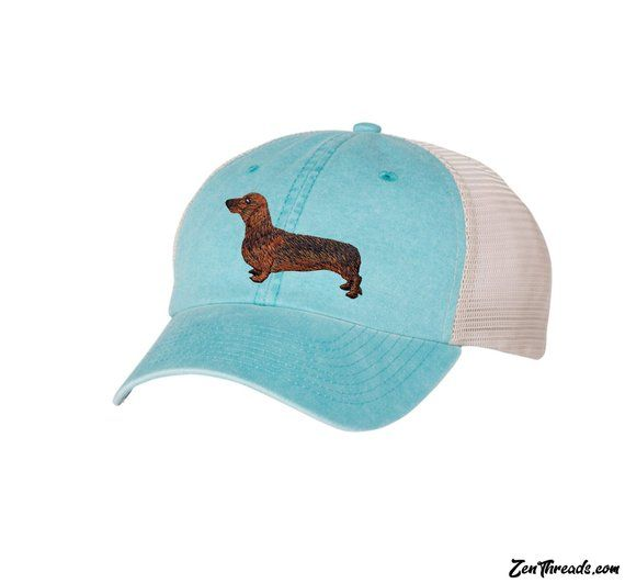 ee409558ff0 DACHSHUND Embroidered Wiener Dog Patch Pigment Dyed Trucker Cap - Aqua Stone  SP510