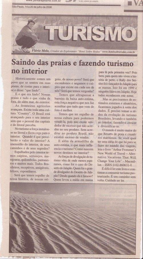 Saindo das Praias e fazendo turismo no Interior – Publicado em 20 de julho de 2006