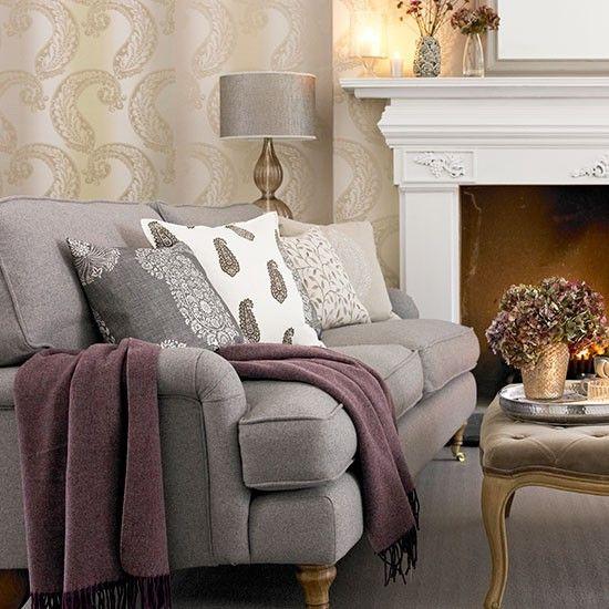 Tonal Grey Paisley Living Room