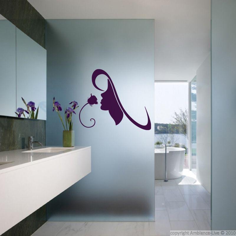 Stickers muraux pour salle de bain - Sticker mural Femme et rose
