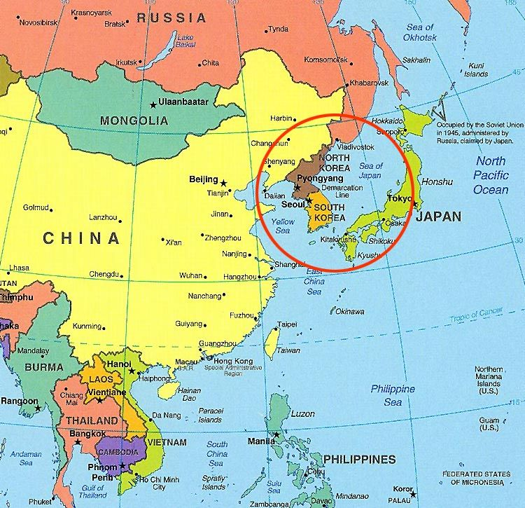 Notice How Small Korea Is Next To China And How Close It Is To - Japan map labeled