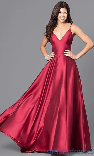 Wine Red V Neck Satin Long Prom Dress With Pockets In 2018 A Girl