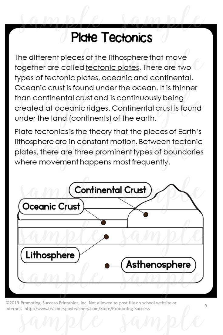 Plate Tectonics Middle School Activity Worksheets for Teaching Kids 4th -  5th Grade   Earth science lessons [ 1102 x 735 Pixel ]