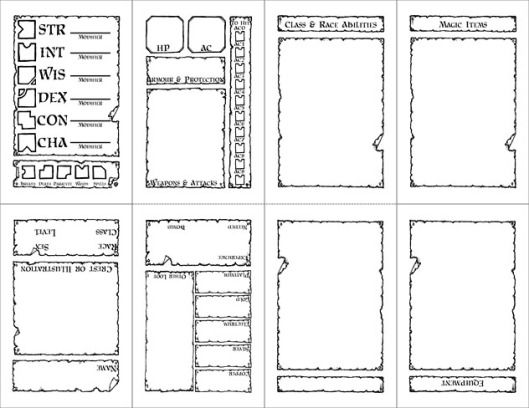 image regarding Pathfinder Character Sheets Printable titled Labyrinth Lord] A contemporary persona sheet! Pocketmod Rpg