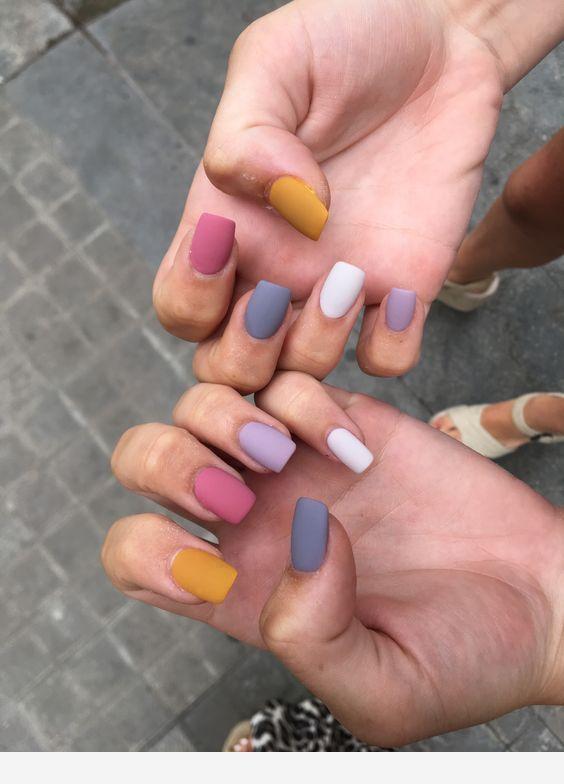 Pastel Colors Short Nails In 2020 Cute Acrylic Nails Fake Nails Pastel Nails