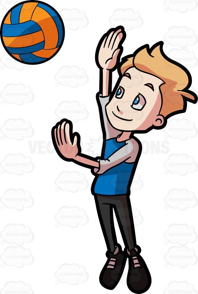 A Preadolescent Boy Playing Volleyball Vector Graphics Vectortoons Com