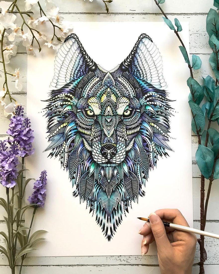 Animal drawings and mandalas tattoos wolf tattoos leg