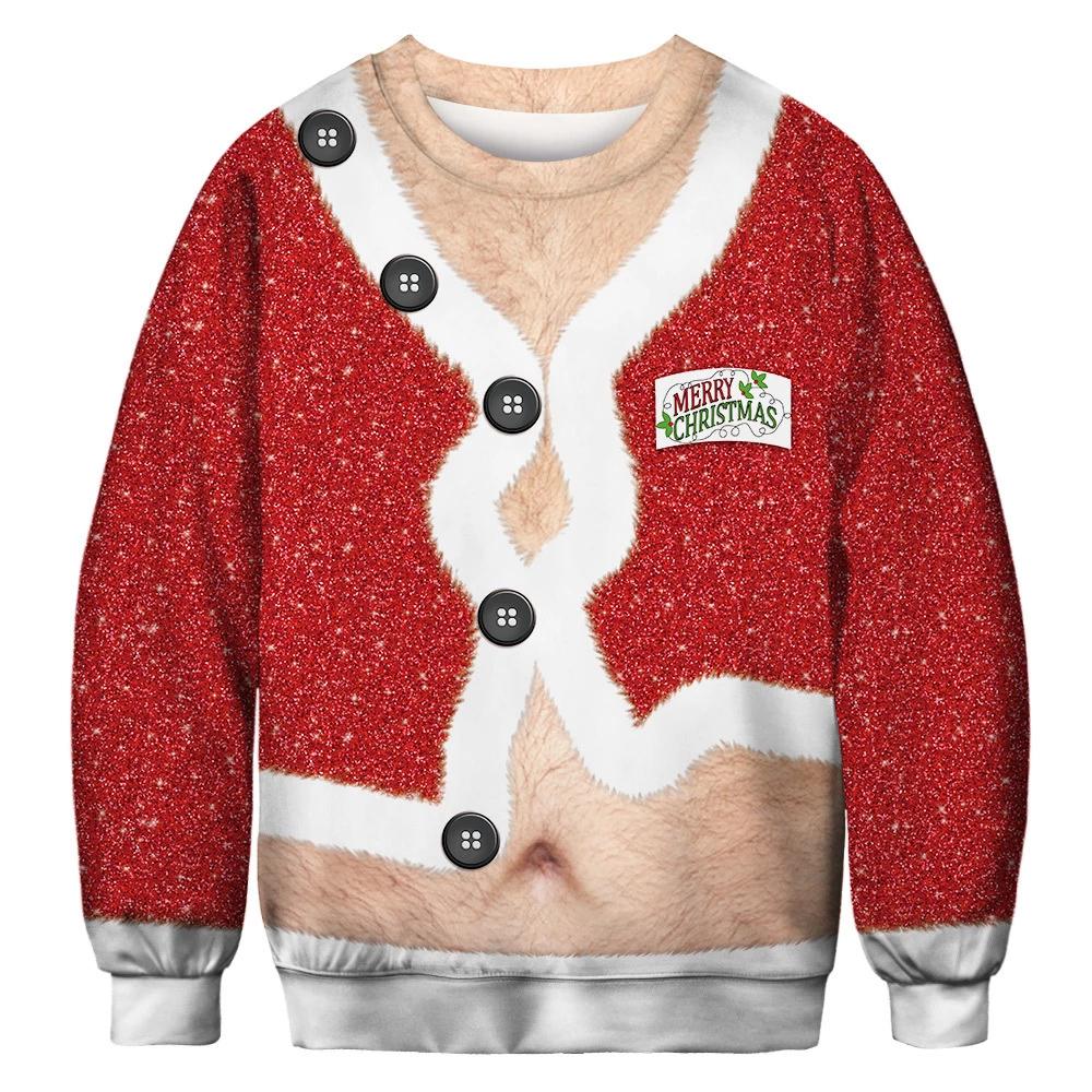 Christmas Womens Funny 3D Bra Print Pullover Sweatshirt Sweater Jumper Tops Xmas