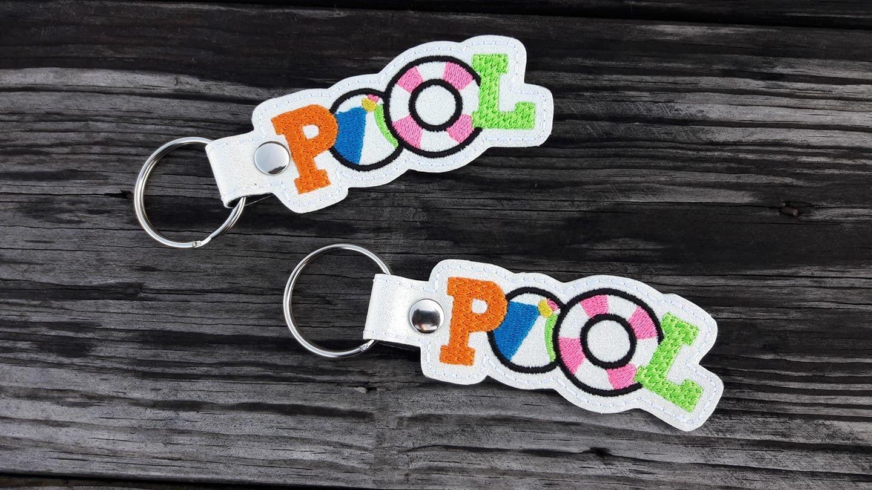 Pool 2 snap tab | Snap tabs | Key fobs, Embroidery applique, Key