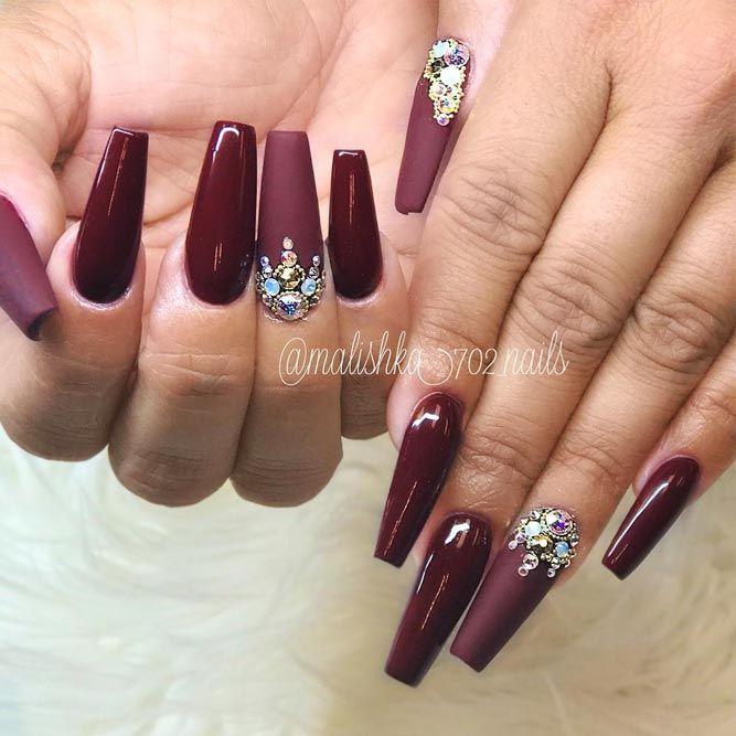 27 Dazzling Ideas For Maroon Nails Designs | Maroon nails, Maroon ...