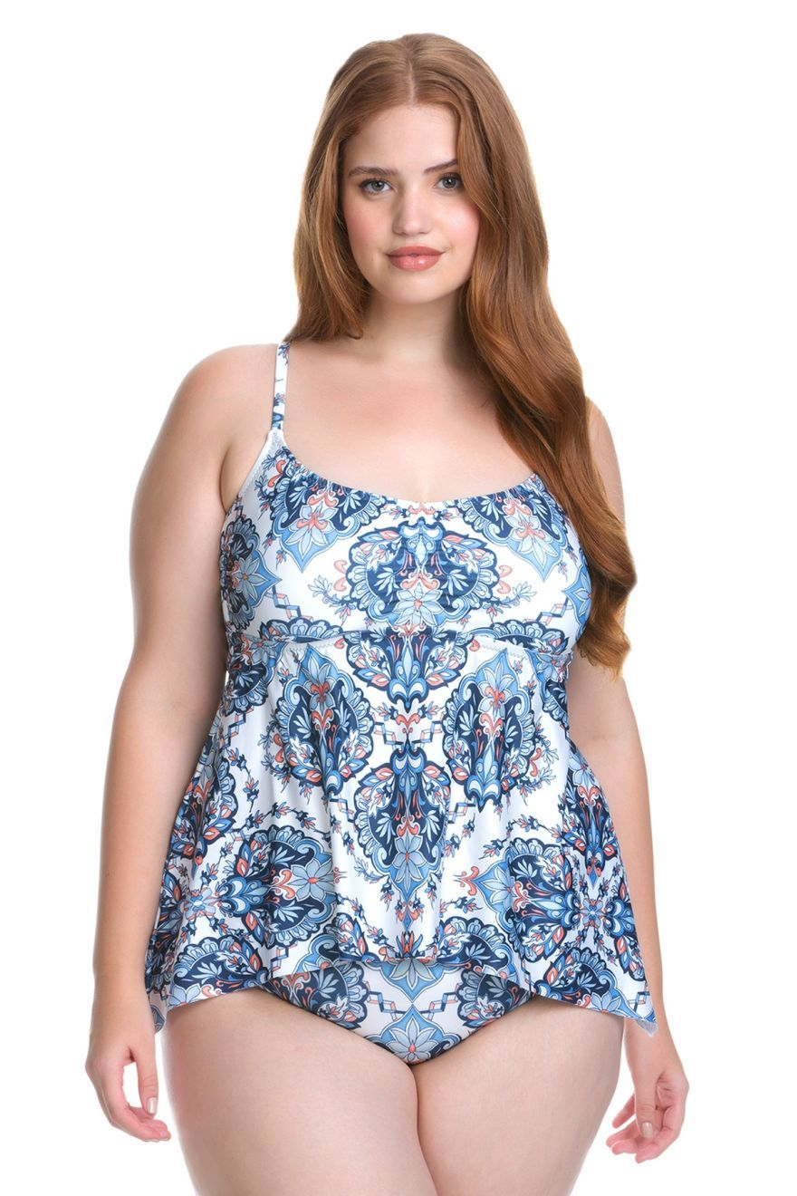 6fa2df31cbe Becca ETC Women s Plus Size Naples Handkerchief Hem Cross Back Tankini Swim  Top