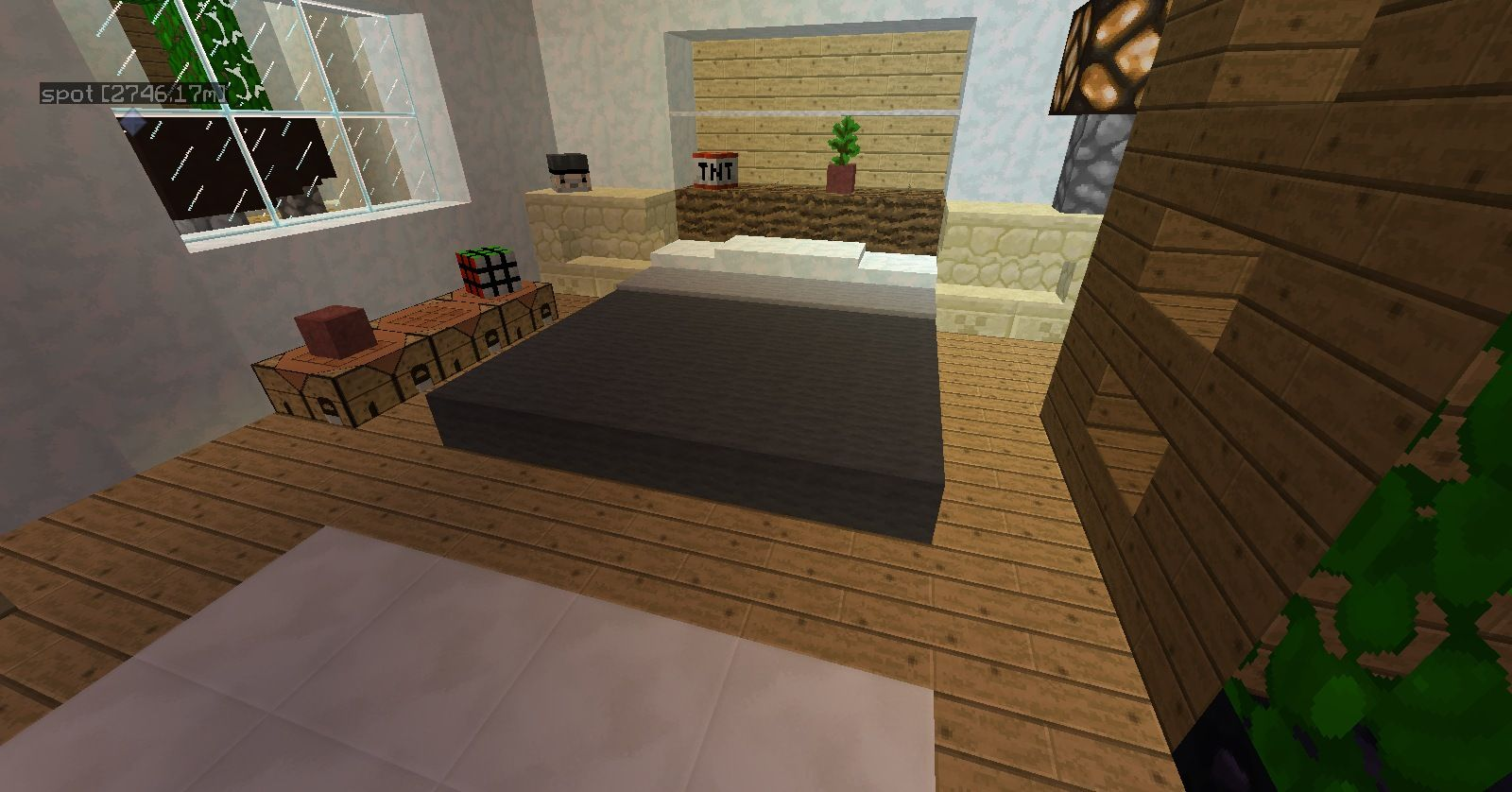 Minecraft furniture bedroom racoon bed minecraft for Bed decoration minecraft