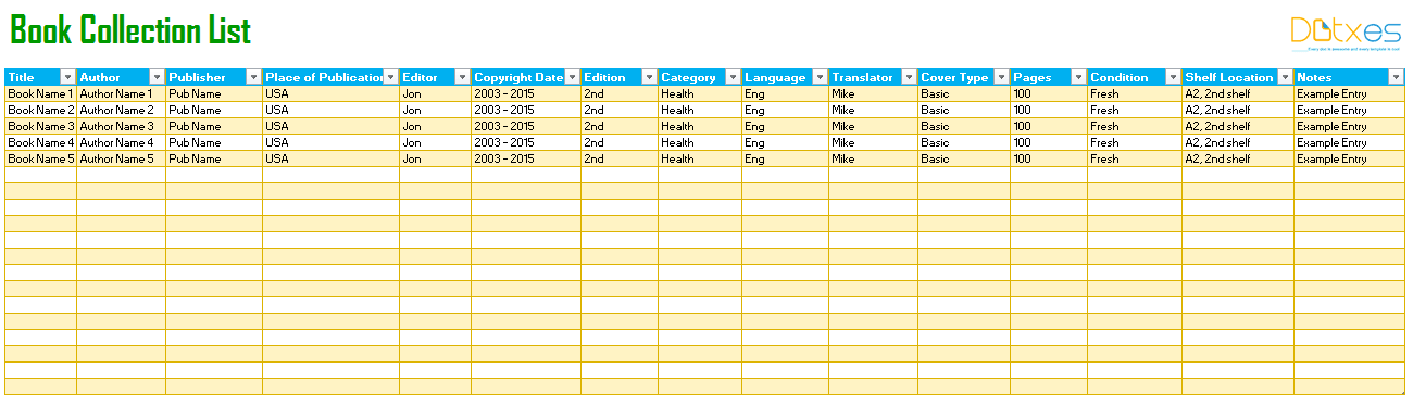 Book Tracking List Template To Track Your All Books And Favourite Novels
