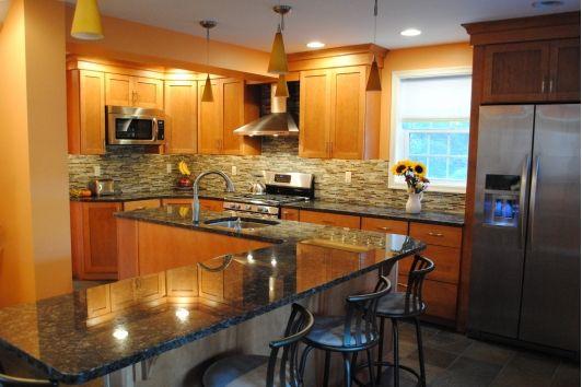 Kitchen peninsula and breakfast bar-Home and Garden Design Ideas