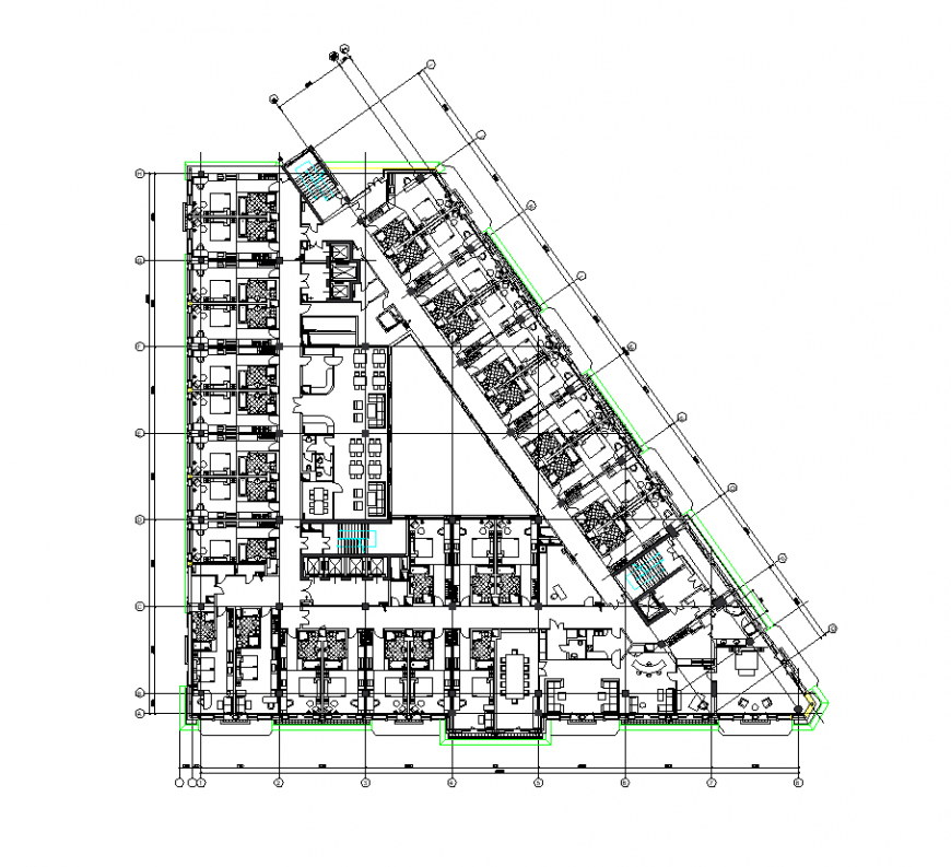 Typical floor plan of hotel design with part of