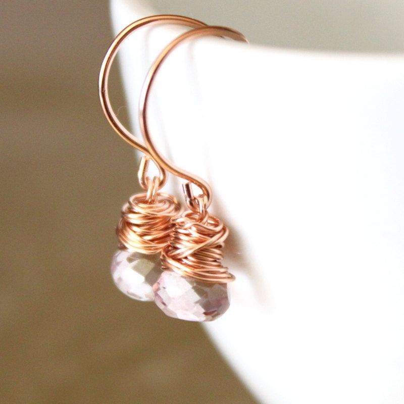 Pink Quartz Rose Gold Earrings Wirewrapped another super cute