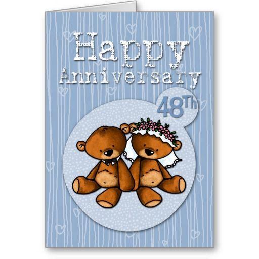Happy Anniversary Bears 48 Year Card Zazzle Com Happy Anniversary Happy 21st Anniversary Happy 64th Anniversary