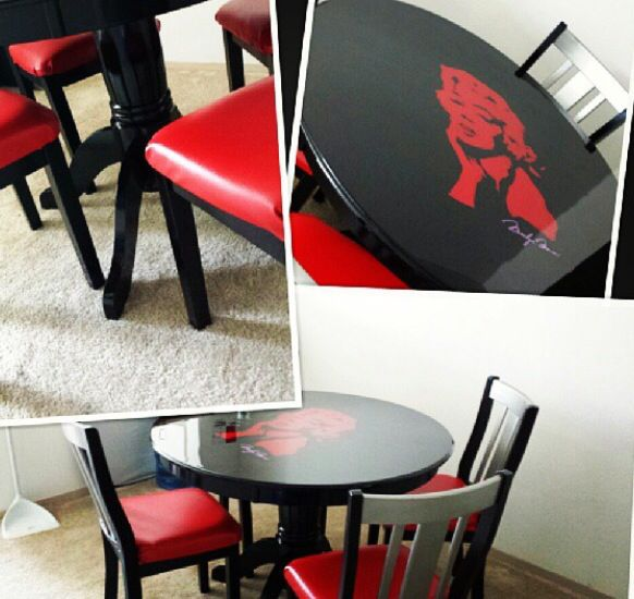 Marilyn monroe red dining table pop art  Acrylic with clear top coat