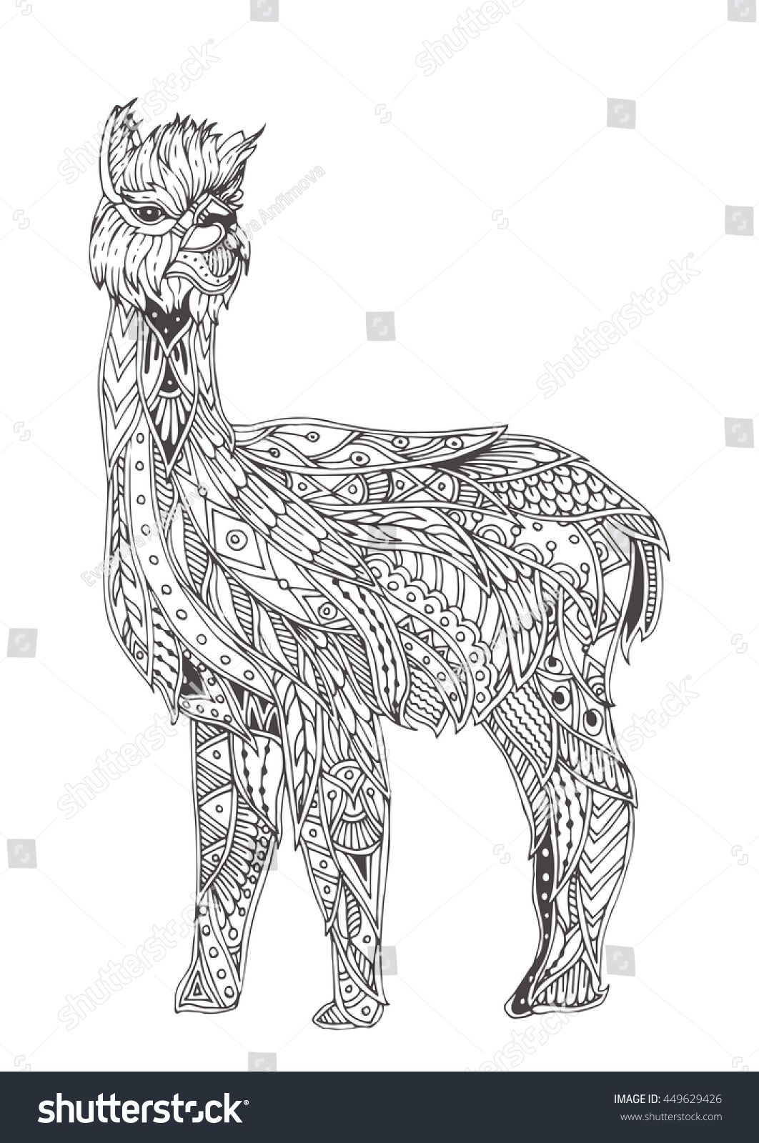 Handdrawn alpaca with ethnic floral doodle pattern Coloring page