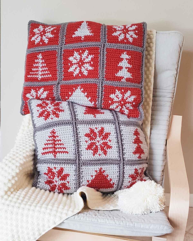 Modern Hygge Pillows - free Christmas tapestry crochet pattern