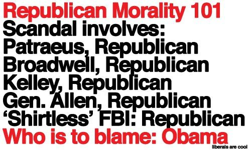 Republican Morality 101 - All Republican players and they, of course, blame the Democrat!