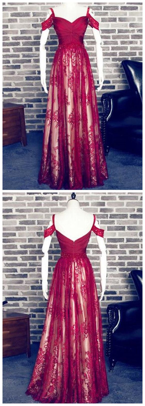 Wine red tulle and lace long off shoulder prom dress k