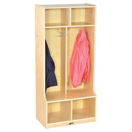 Blue ECR4Kids Colorful Essentials 5-Section Coat Locker with Cubbies and Bench